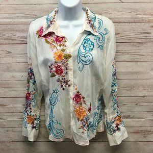 Johnny Was Rayon  Floral Embroidered Blouse